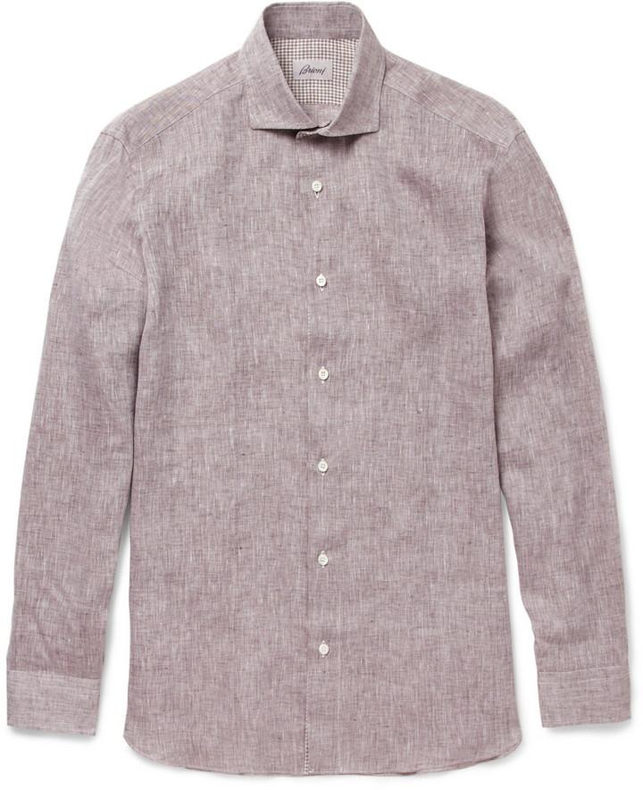 Brioni Contrast-Trim Linen Shirt