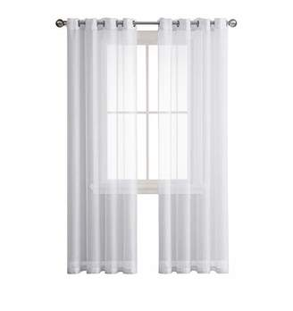 Grommet Semi-Sheer Curtains - 2 Pieces - Total Size 108 Inch Wide (54 Inch Each Panel) - 84 Inch Long - Panel Beautiful