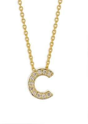 Roberto Coin Tiny Treasures 18K Yellow Gold& Diamond Letter C Necklace