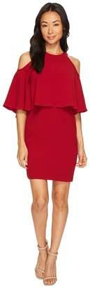 Adrianna Papell Petite Textrd Crepe Cold Shoulder Sheath Dress Women's Dress