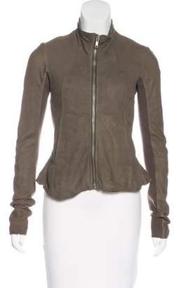 Rick Owens Suede Knit-Trimmed Jacket
