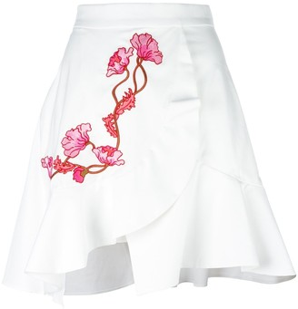 Carven embroidered wrap skirt