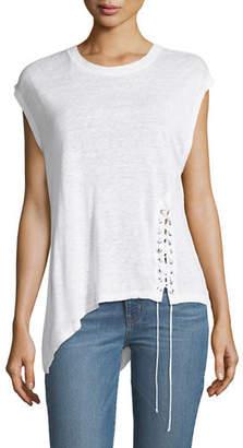 IRO Crewneck Asymmetric Linen Top with Lace-Up Detail