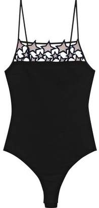 Fleur Du Mal Guipure Lace-Trimmed Stretch-Jersey Bodysuit