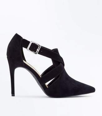 New Look Wide Fit Black Suedette Pointed Cut Out Shoe Boots