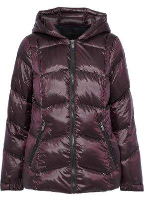 Donna Karan Quilted Coated-shell Down Hooded Coat