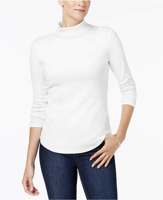 Charter Club Cotton Mock-Neck Top, Created for Macy's