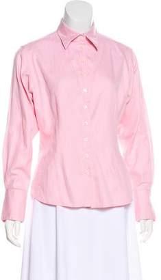 Thomas Pink Collar Button-Up Top