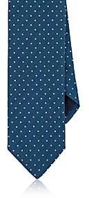 Barneys New York MEN'S DOTTED SILK-COTTON NECKTIE-LT. BLUE