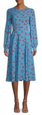 Michael Kors Silk Georgette Rose Print A-Line Dress