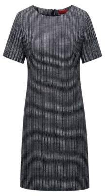 HUGO Boss A-line dress structured design & woven stripes 0 Open Blue