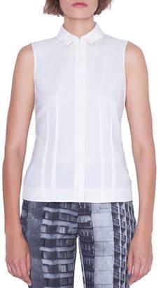Akris Sleeveless Zip-Front Poplin Shirt