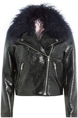 Shrimps Patent Jacket with Faux Fur Collar