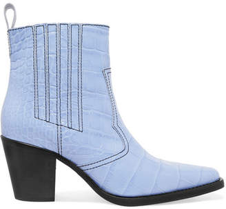 849eed18fa82 Ganni Callie Croc-effect Leather Ankle Boots - Sky blue