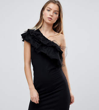 Noisy May Petite One Shoulder Ruffle Bodycon Dress