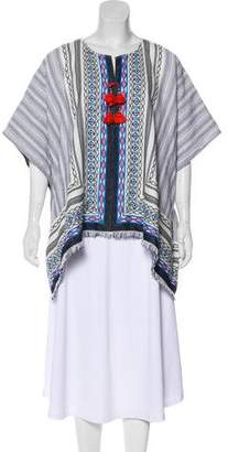 Tory Burch Striped Embroidered Poncho
