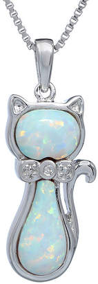 FINE JEWELRY Lab-Created Opal and Diamond-Accent Sterling Silver Cat Pendant Necklace
