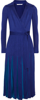 Diane von Furstenberg - Stevie Pleated Satin-jersey And Georgette Wrap Dress - Royal blue $600 thestylecure.com