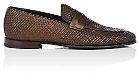 Barrett Men's Apron-Toe Woven Leather Penny Loafers - Dk. brown