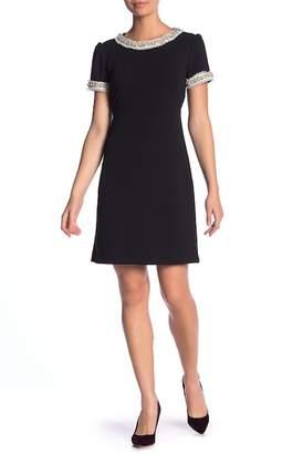 Betsey Johnson Scuba Crepe Faux Pearl Collar Dress