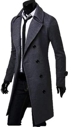 FCYOSO Men's Trench Coat Winter Long Jacket Double Breasted Overcoat US,S