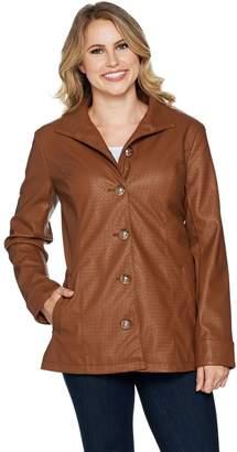 Dennis Basso Basket Weave Faux Leather Button Front Jacket