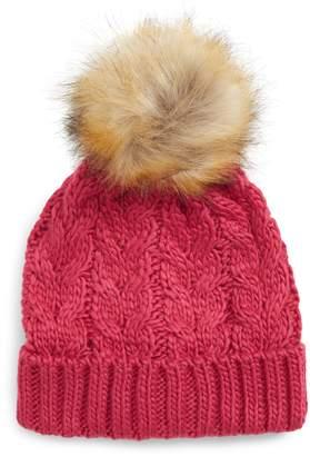 BP Knit Beanie with Faux Fur Pompom