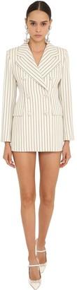 Alessandra Rich Pin Stripe Coolwool Blazer Dress