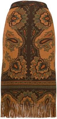 Etro fringed printed skirt