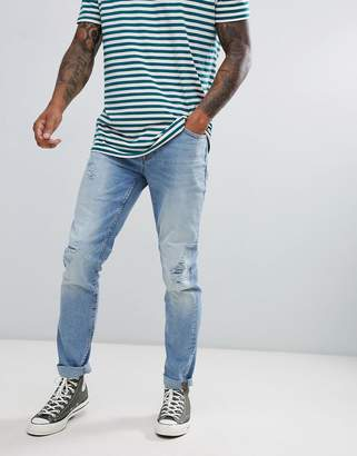 ONLY & SONS slim fit jeans with distressing in light blue