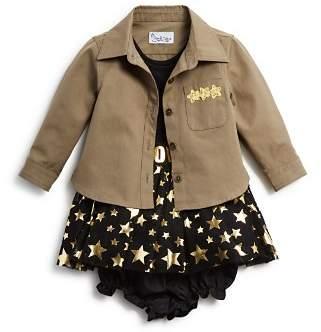 Pippa & Julie Girls' Military Shirt, Metallic-Star Tutu Dress & Bloomers Set - Baby