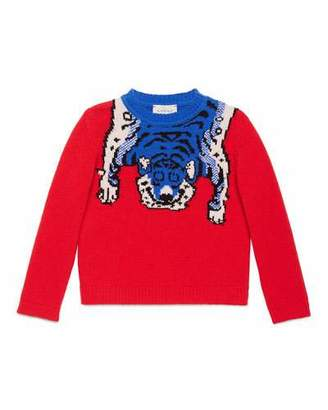 Gucci Wool Tiger Crewneck Sweater, Red, Size 4-12 $395 thestylecure.com