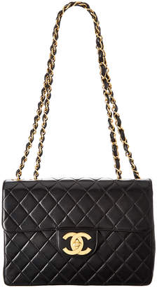 Chanel Black Quilted Lambskin Leather Maxi Classic Flap Bag
