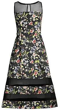 Aidan Mattox Women's Floral Crepe Illusion Tea Dress