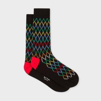 Men's Black Socks With Multi-Coloured Diamond Pattern $30 thestylecure.com
