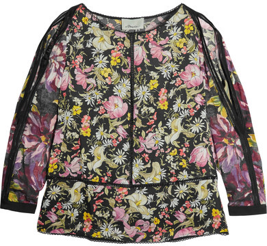 3.1 Phillip Lim 3.1 Phillip Lim - Meadow Flower Cold-shoulder Printed Silk-satin Blouse - Black