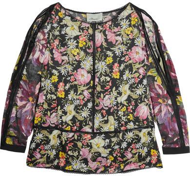 3.1 Phillip Lim3.1 Phillip Lim - Meadow Flower Cold-shoulder Printed Silk-satin Blouse - Black