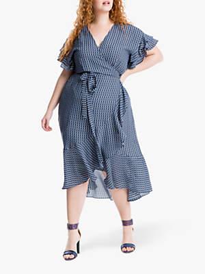 ef9ff70ea2cba0 Max Studio + Abstract Print Ruffle Sleeve Wrap Dress