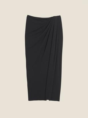 Donna Karan Donnakaran Jersey Midi Wrap Skirt