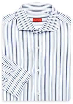 Isaia Men's Regular-Fit Tri-Color Striped Dress Shirt