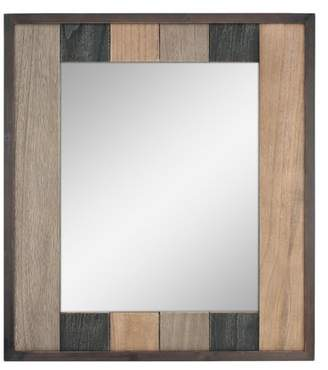 STONEBRIAR COLLECTION Stonebriar Rectangle Natural Wood Plank Hanging Wall Mirror with Attached Mounting Brackets