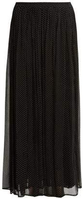 Mes Demoiselles Textured Polka Dot Print Georgette Skirt - Womens - Black