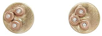 Melissa Joy Manning Rose and Yellow Gold Circle Stud Earrings