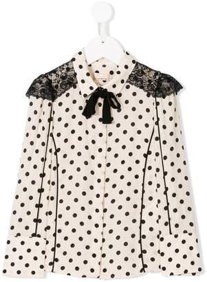 Elisabetta Franchi La Mia Bambina polka dot blouse