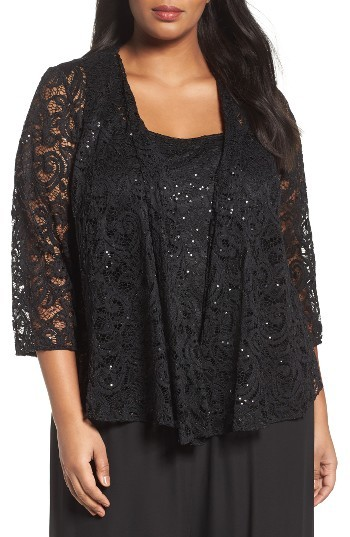 Alex Evenings Plus Size Women's Alex Evenings Sequin Lace Twinset