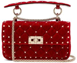 Valentino Rockstud Spike Small Quilted Velvet Shoulder Bag - Womens - Red