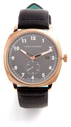 Larsson & Jennings - Mk I Pilot Stainless Steel And Leather Watch - Mens - Pink Gold
