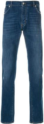 Billionaire crest patch straight leg jeans