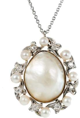 Platinum and 20K Yellow Gold Saltwater Pearl Diamond Vintage Pendant Necklace