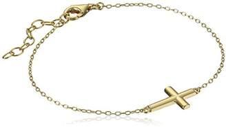 18K Gold Plated Sterling Silver Sideways Cross Bracelet